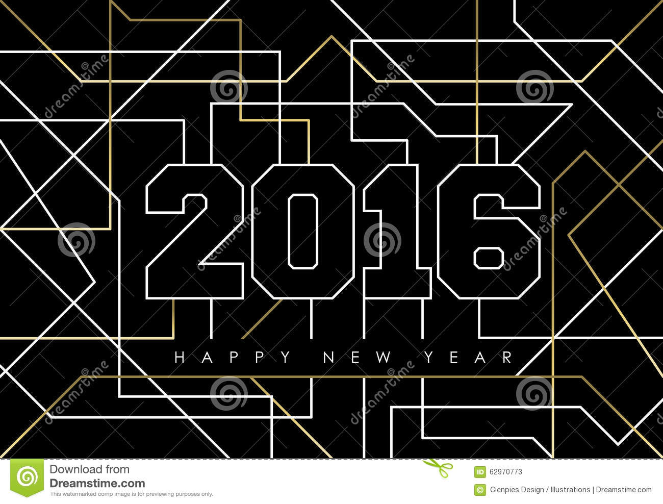 Happy New Year Abstract 2016 Gold Deco Outline Stock