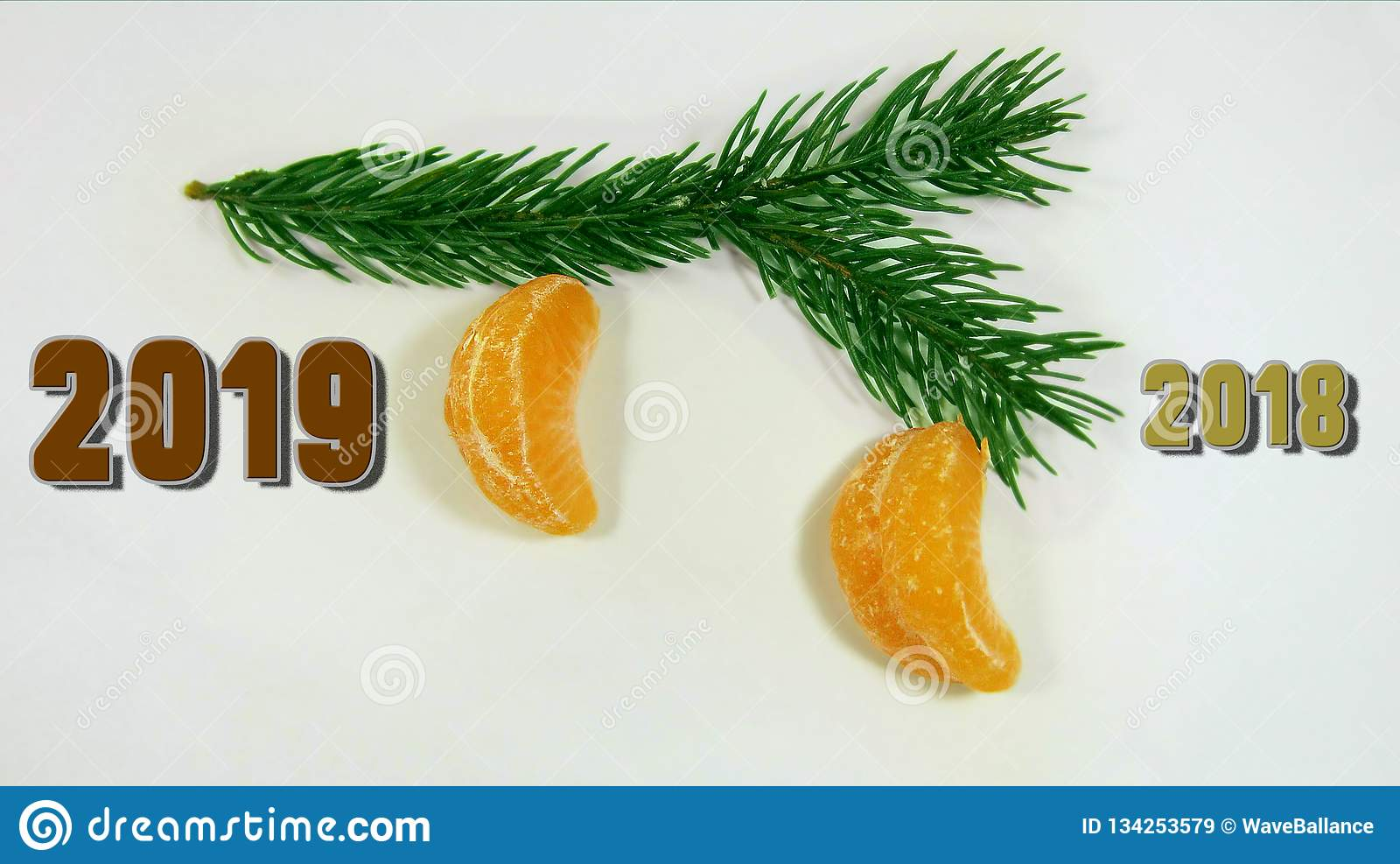 Going Away For Christmas 2019 A Road Sign 2018 To 2019. The Color Of The Brown Pig. The Branch