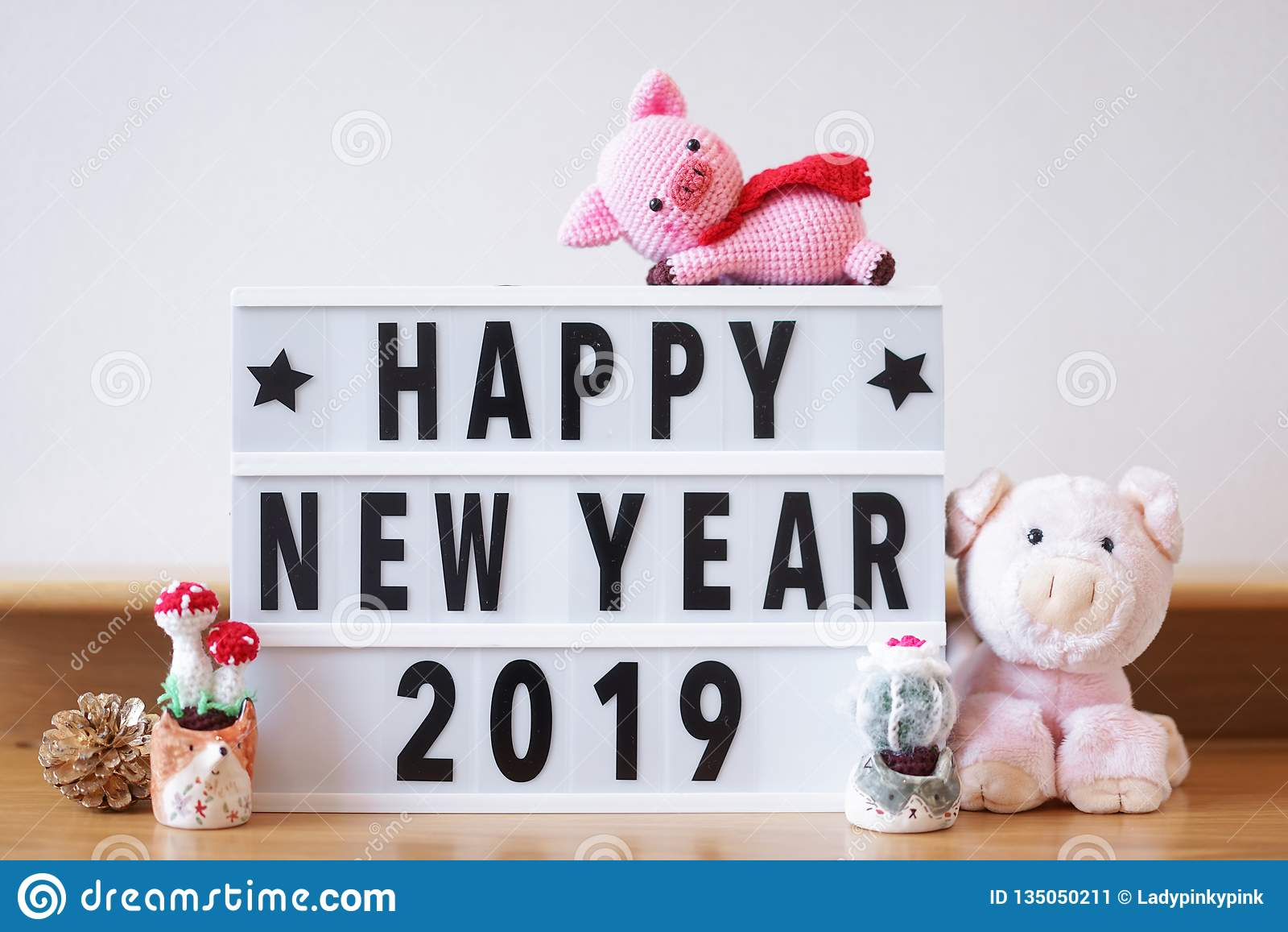 Happy New Year 2019. According to the Chinese animal zodiac, 2019 is a pig year. Copy space on the right to write personal