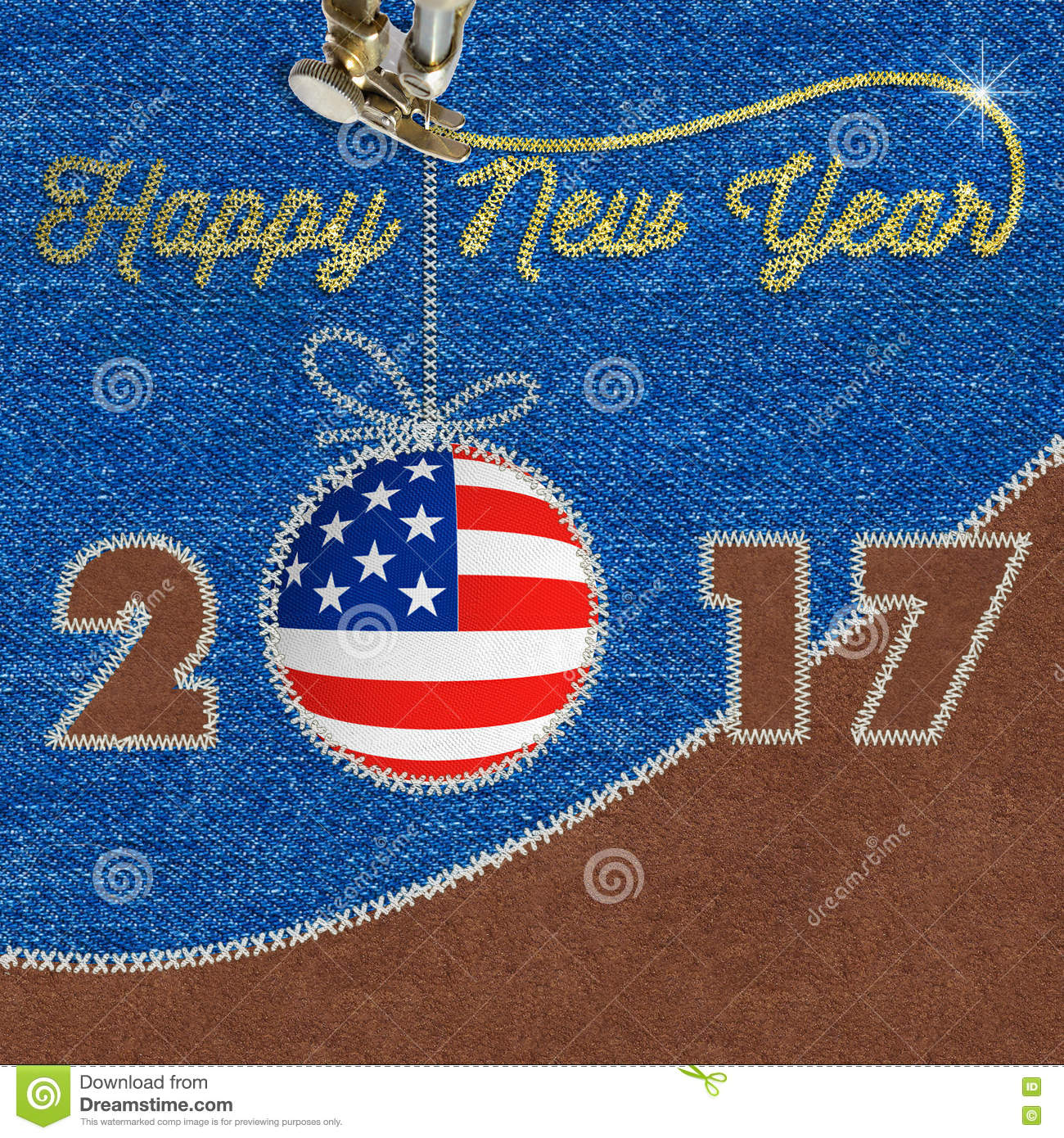 Happy new year 2017 american flag on jeans background sewing fabric happy new year design with american flag on jeans sewing fabric applique to use for greetings card flyers dinner invitation christmas meeting events and m4hsunfo