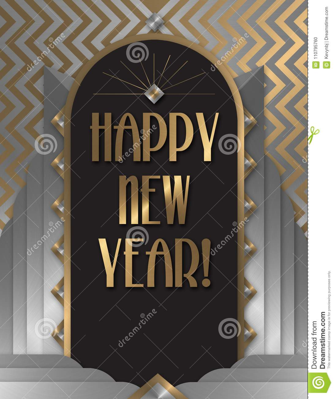 happy new year art deco invitation