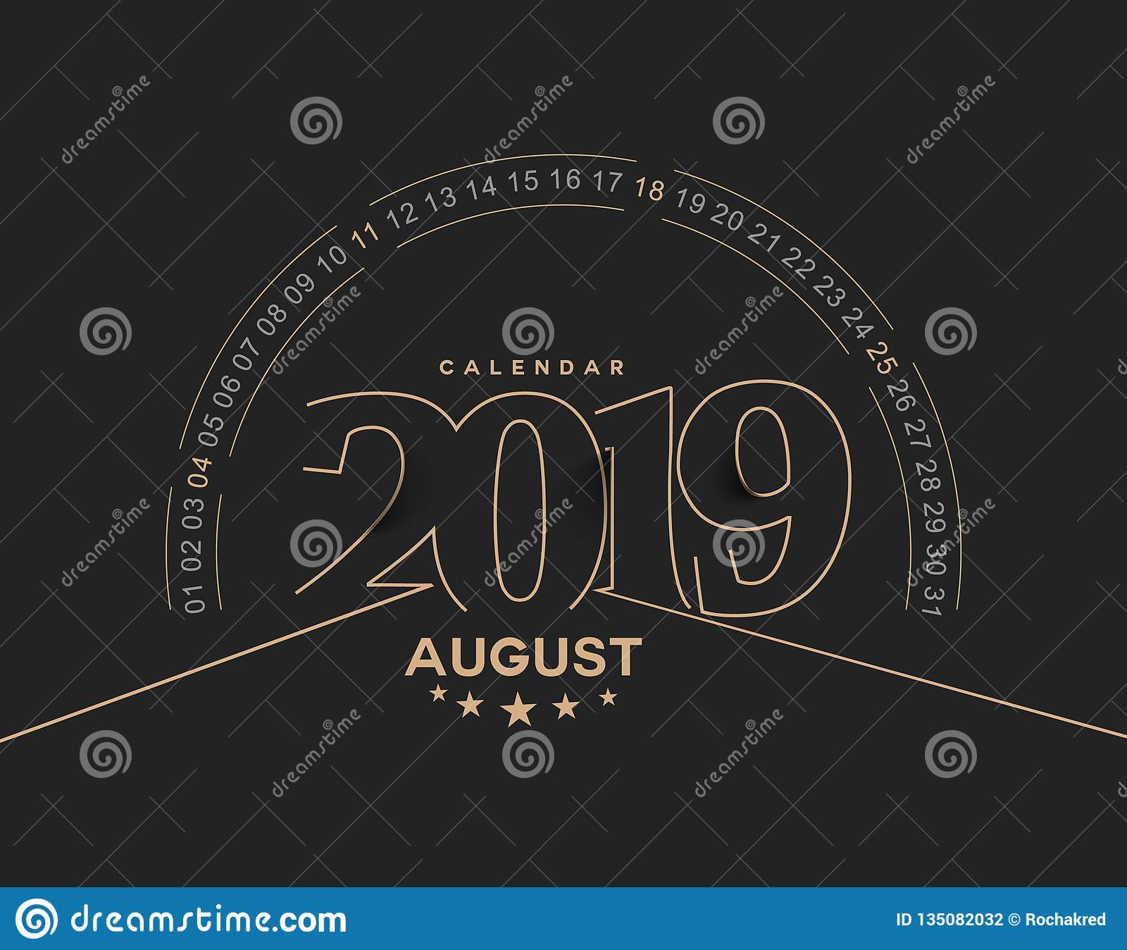Happy new year 2019 August Calendar - New Year Holiday design elements for holiday cards, calendar banner poster for decorations,