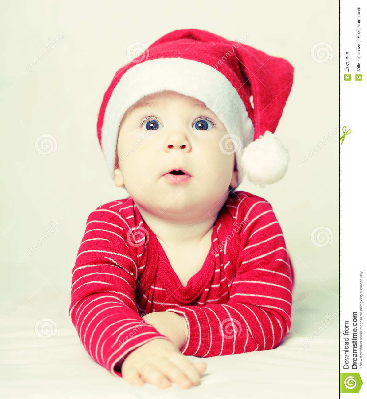 happy new year baby in santa hat, christmas stock photo - image of
