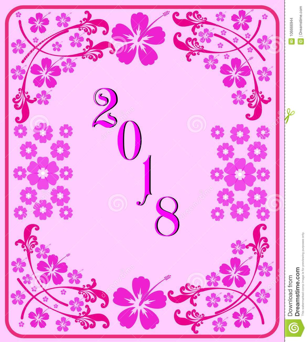 Happy new year 2018 with background