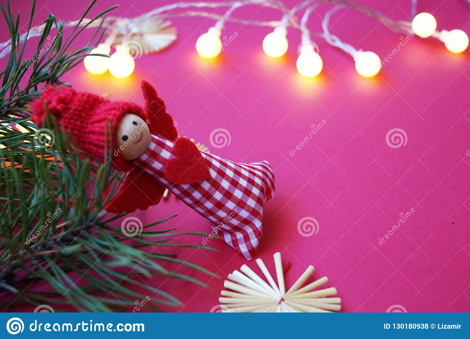 Angels Christmas Background.Happy New Year Background Christmas Angel On A Pine Branch