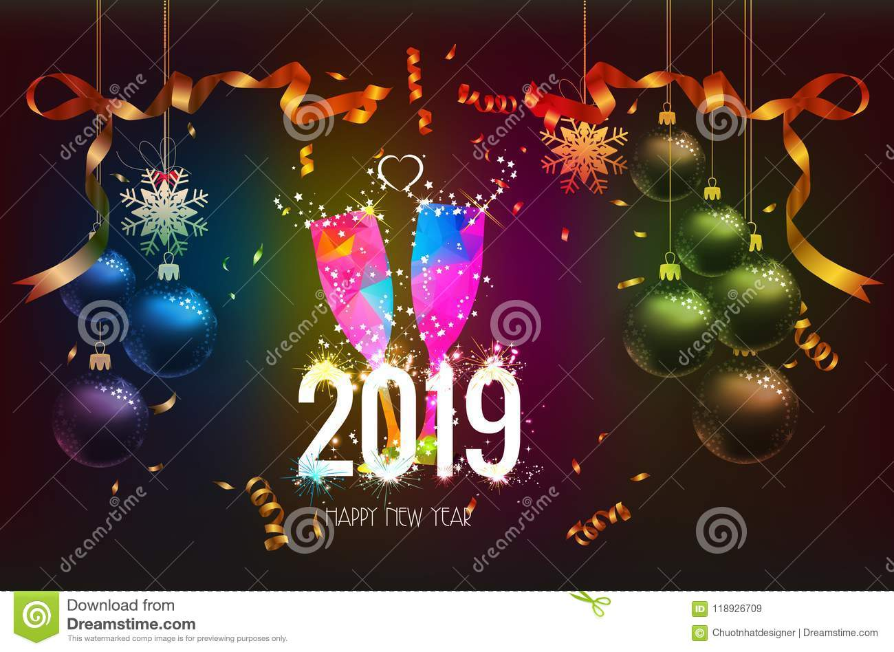 Happy new year 2019 background with christmas confetti - New year 2019 color ...