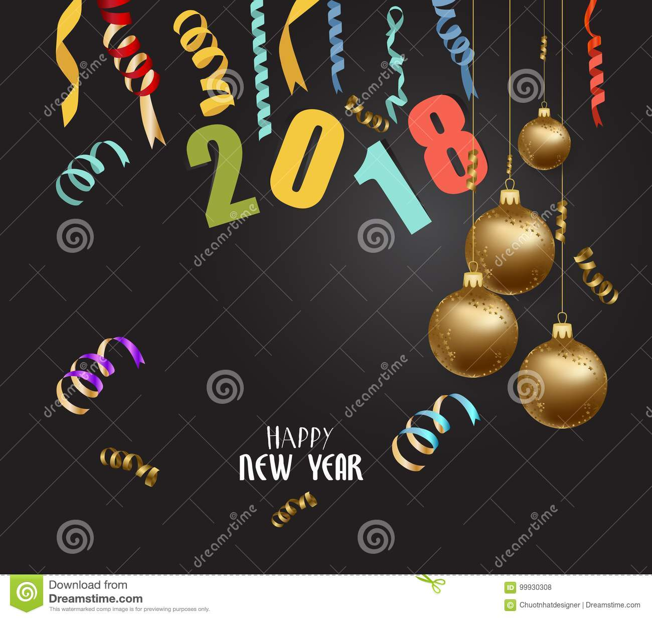 happy new year 2018 background with christmas confetti