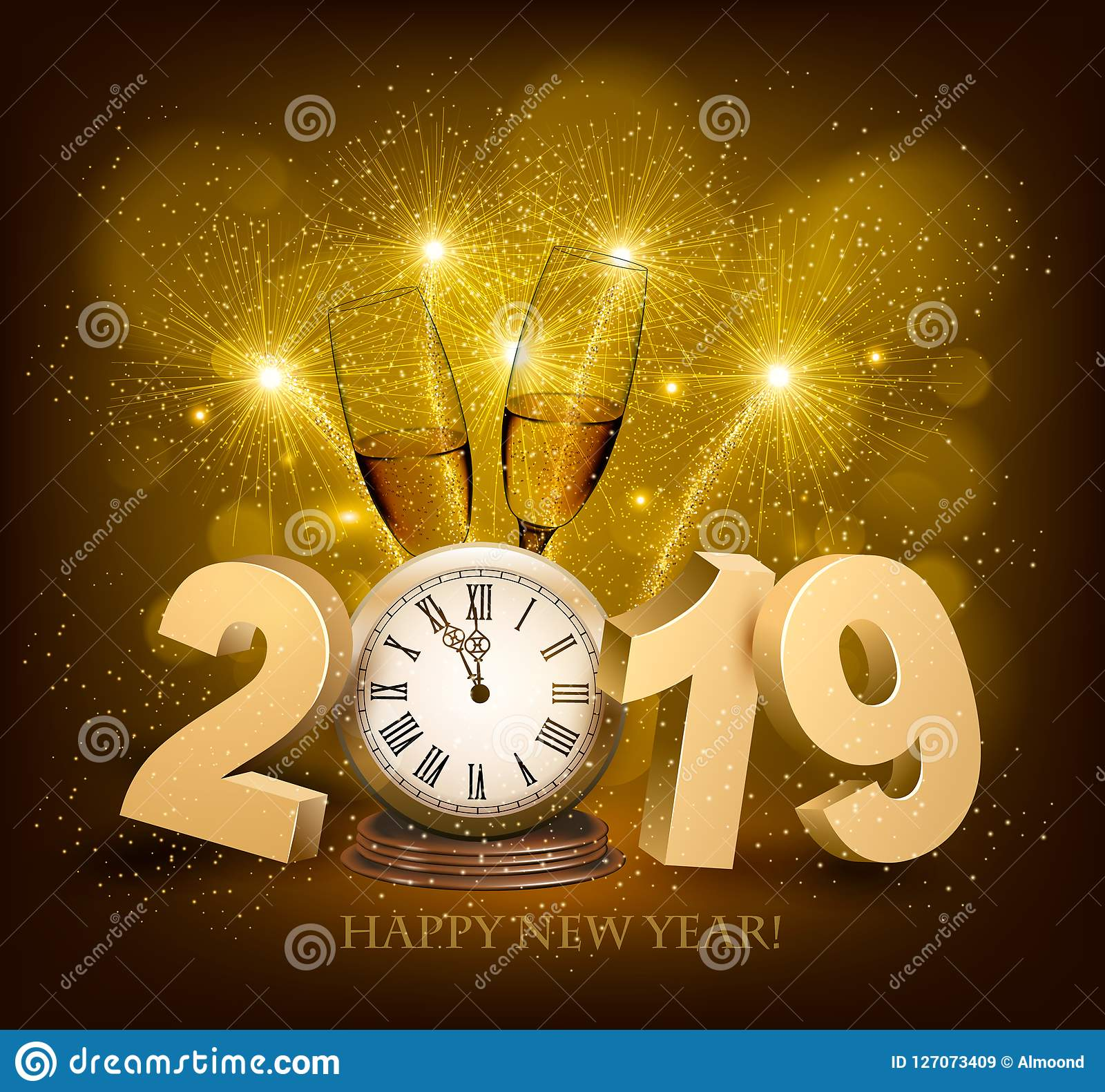 happy new year background with 2019 a clock and fireworks