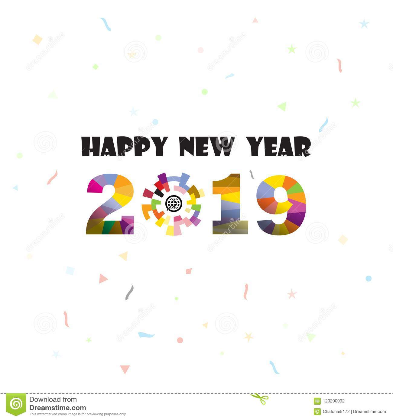 Happy New Year 2019 Background.Colorful Greeting Card ...