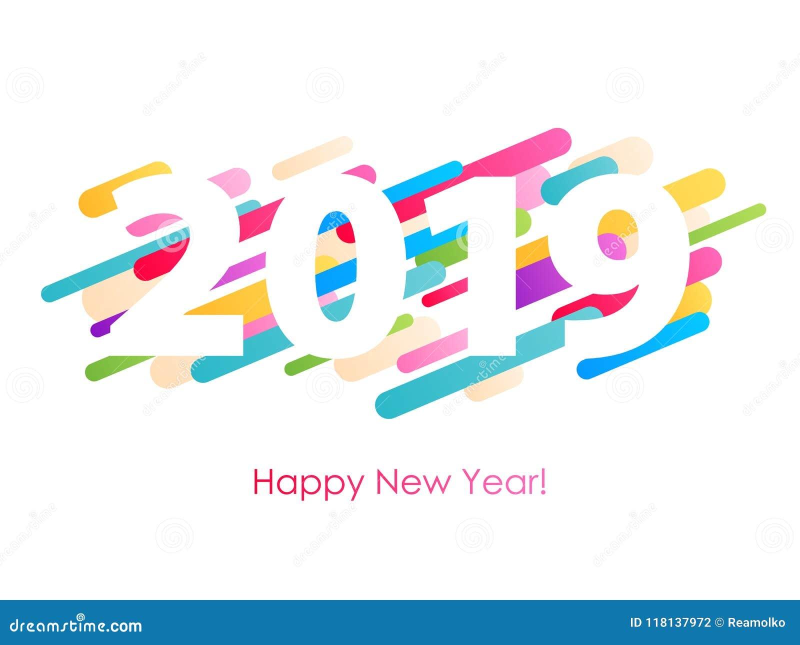2019 happy new year background seasonal greeting card template