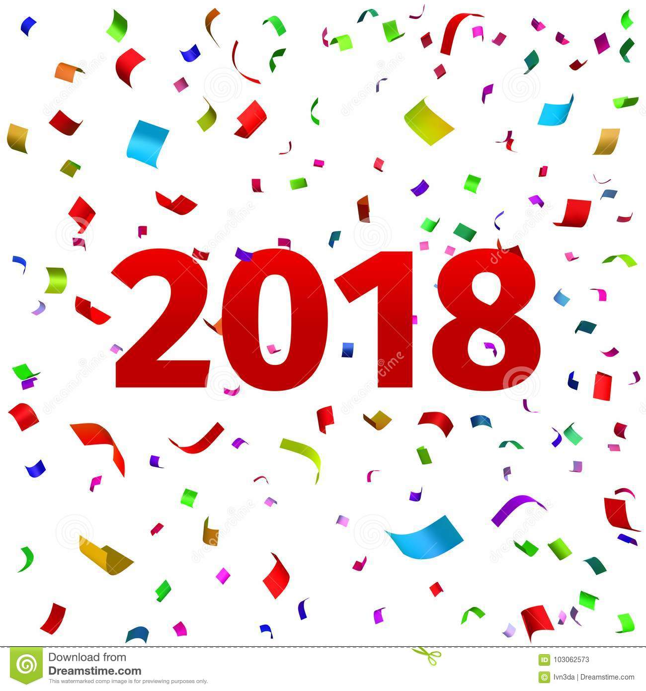 happy new year 2018 background vector illustration of the date of 2018 year template for the design of the greeting card 2018 with tinsel confetti