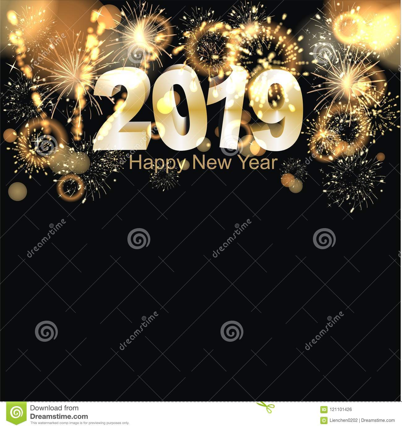 sylvester background at night with big golden firework reflection and happy new year greetings