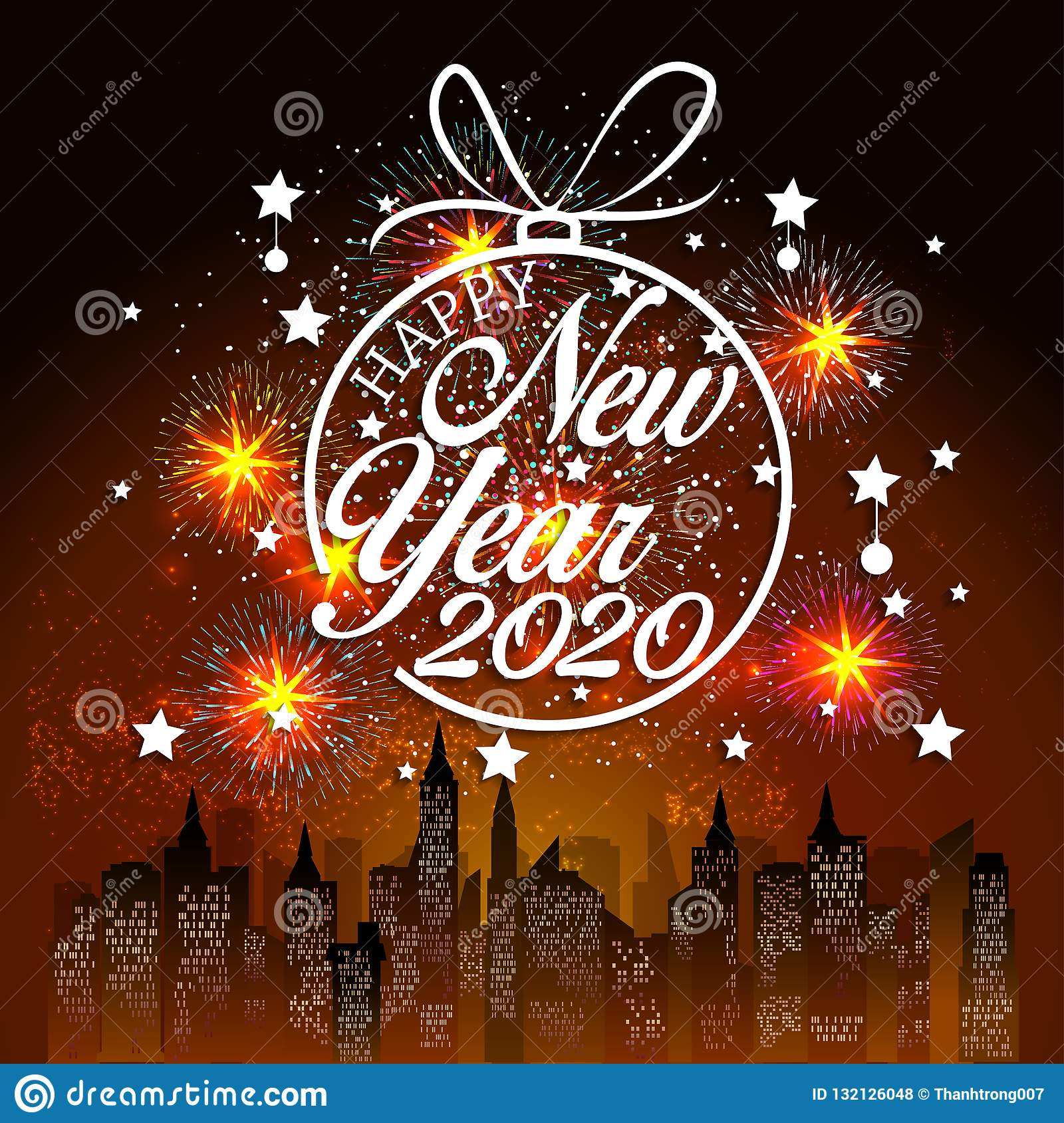 Happy New Year 2020 Background With Fireworks. Stock Vector