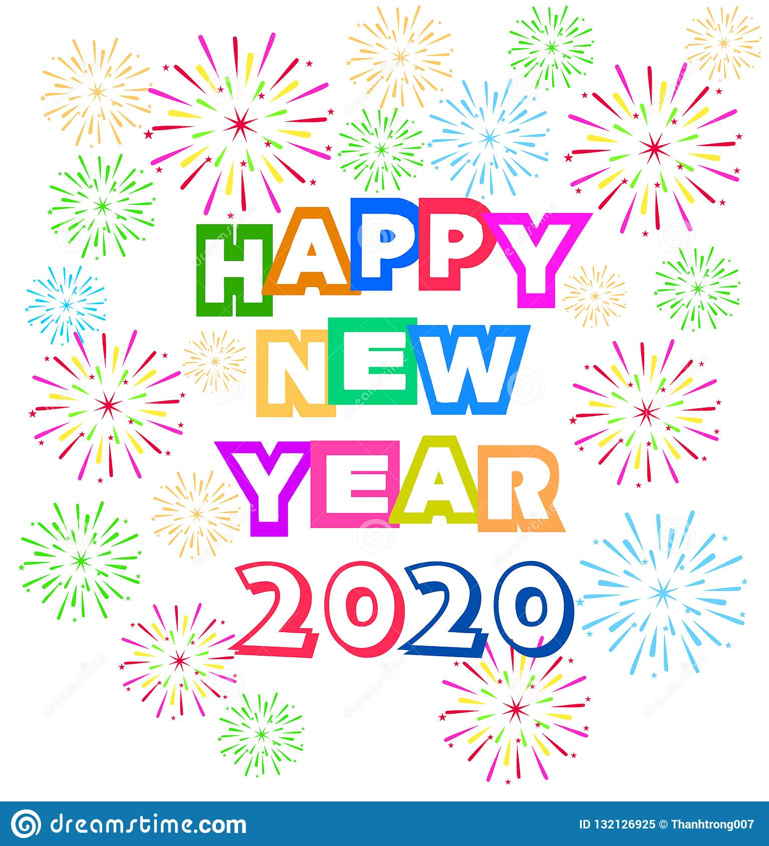 Happy New Year Clipart 2020.Happy New Year 2020 Background With Fireworks Stock Vector