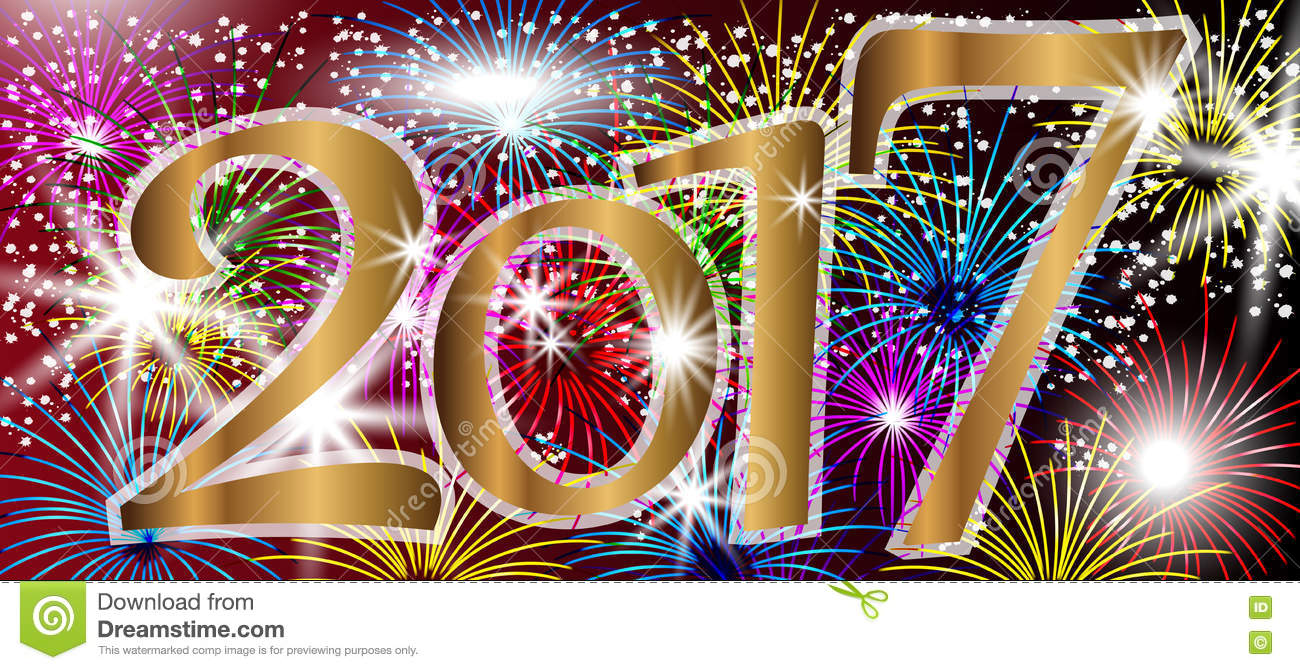 2017 Happy New Year Background With Fireworks. Stock ...