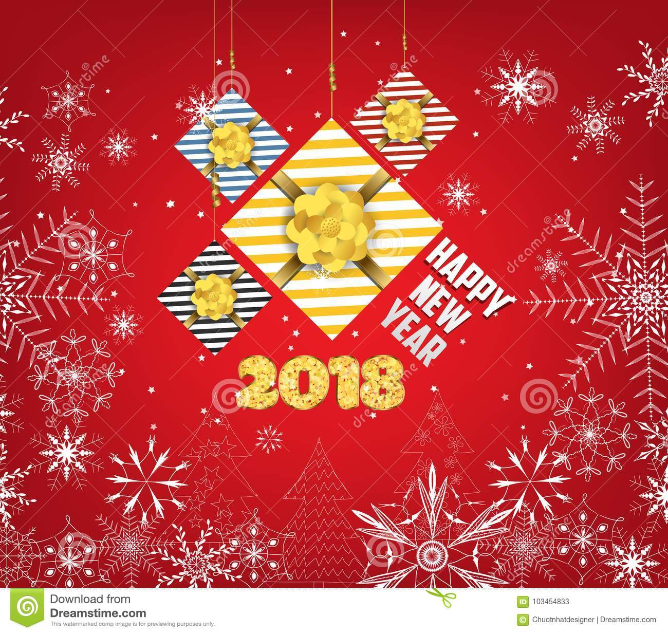 62433e00c75ab Happy New Year 2018 Background With Gifts And Snowflakes Stock ...
