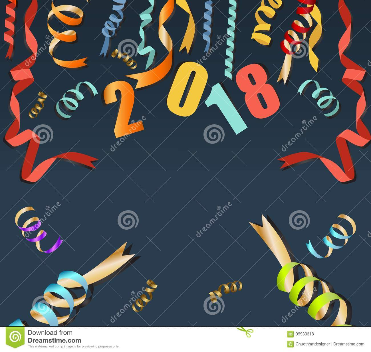 happy new year 2018 background with gold confetti