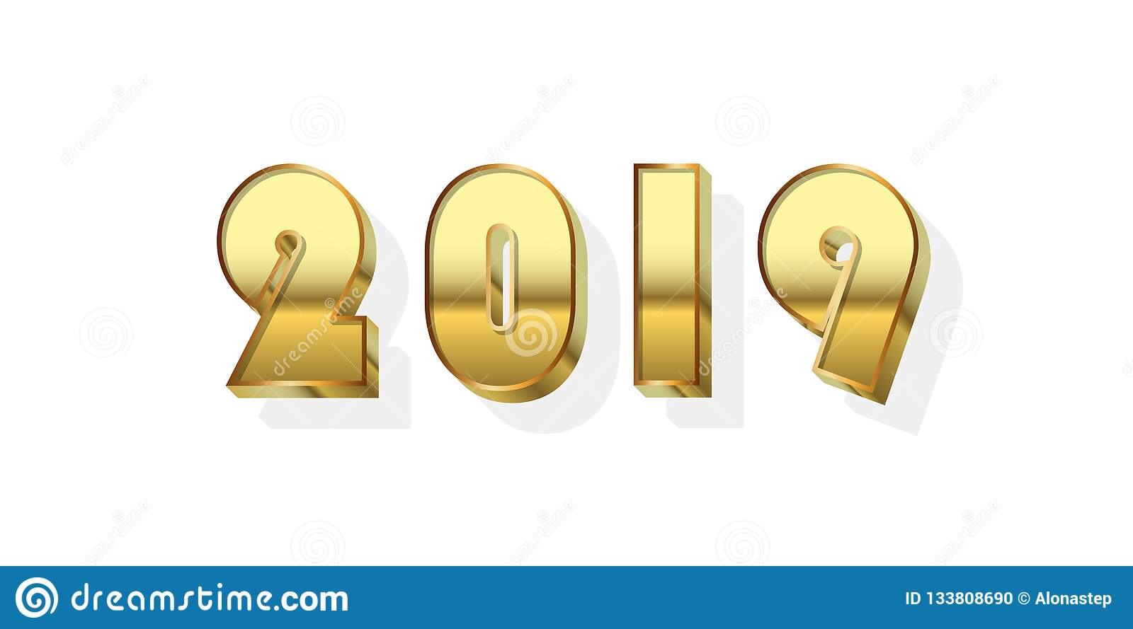 Happy New Year Background Gold 3d Number 2019 Isolated On White