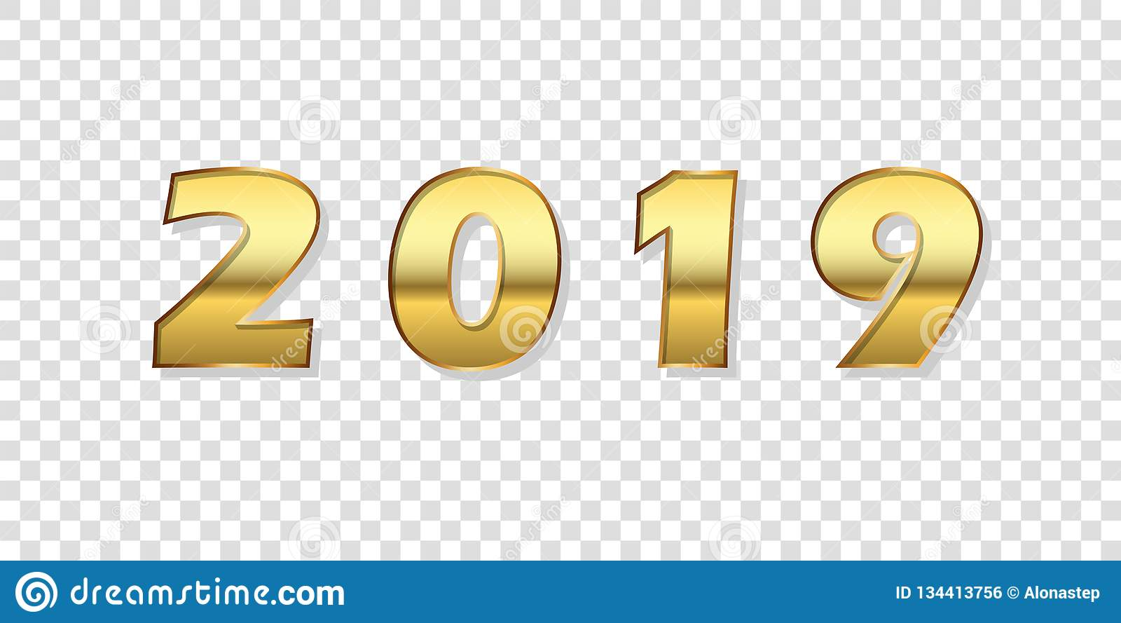 Happy New Year Background Gold 3d Number 2019 Isolated White