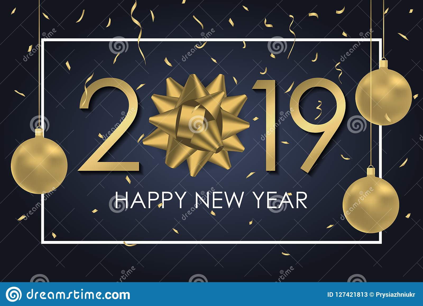 2019 Happy New Year Background With Gold Gift Bow Numbers Frame
