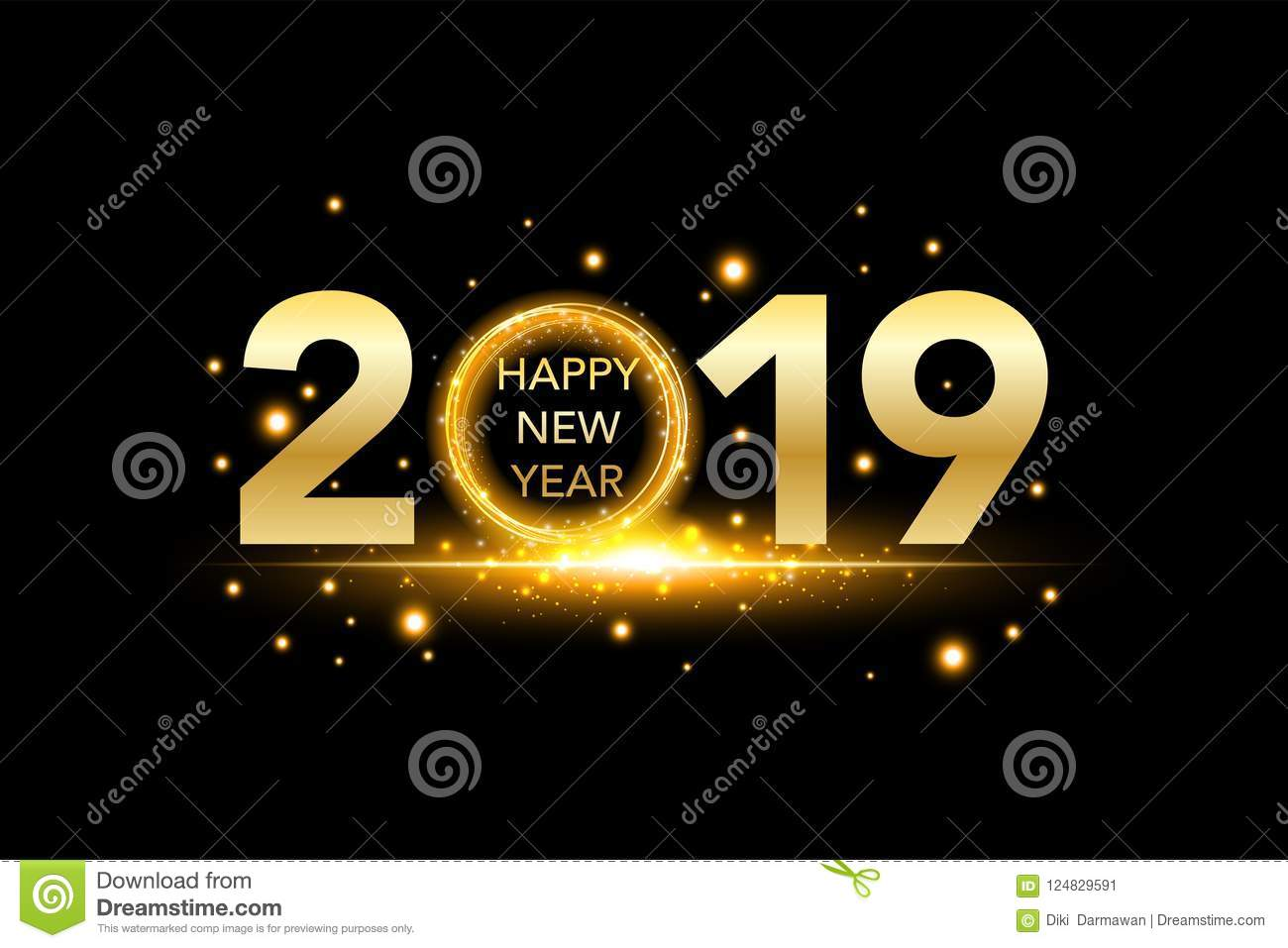 happy new year 2019 background with gold glitter confetti splatter festive premium design template for greeting card calendar banner glowing lights