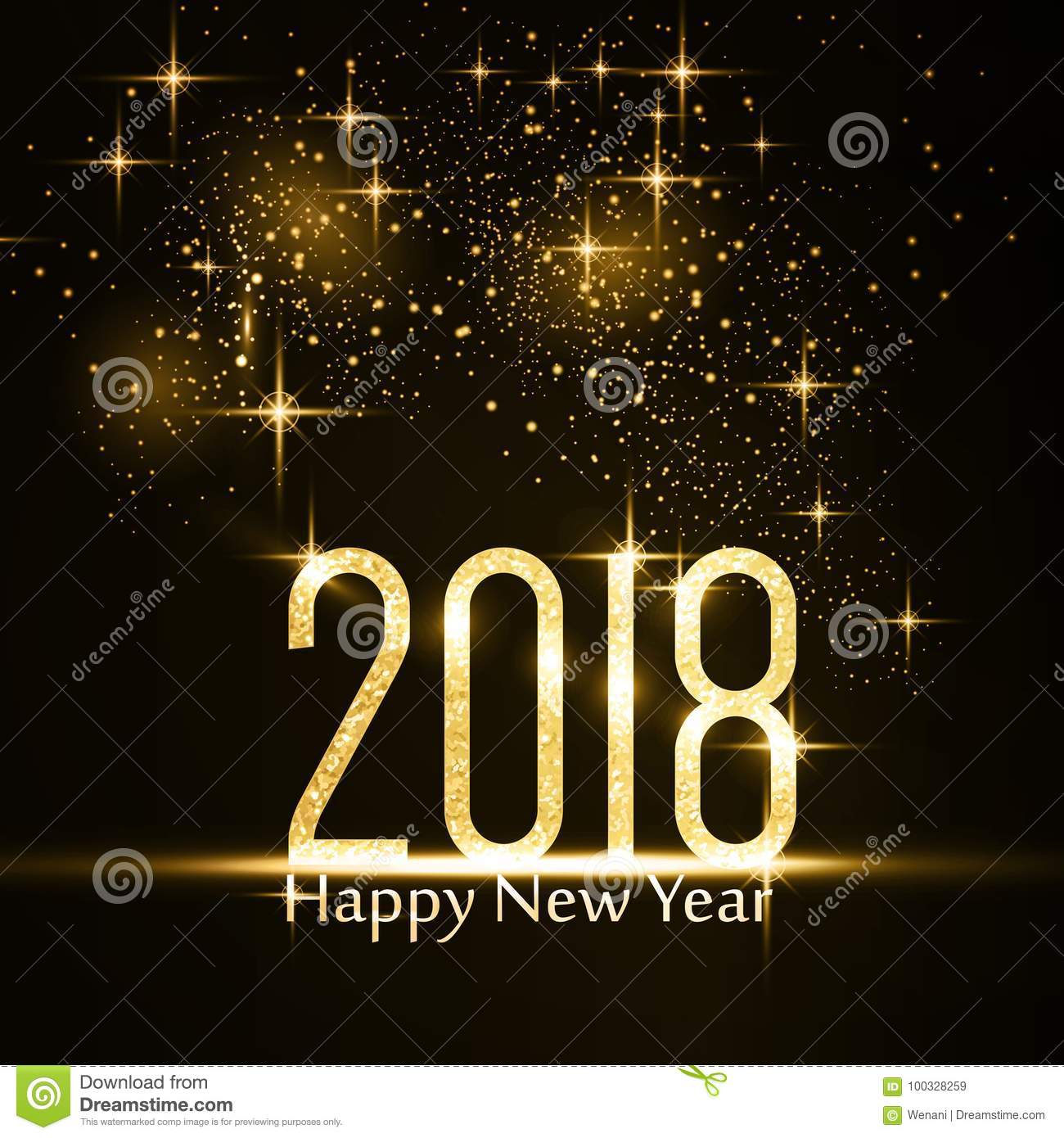 happy new year 2018 background with gold glitter