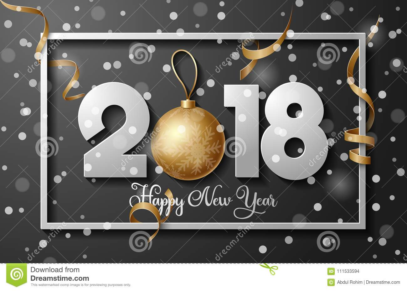 2018 happy new year background with golden christmas ball bauble and stripes elements