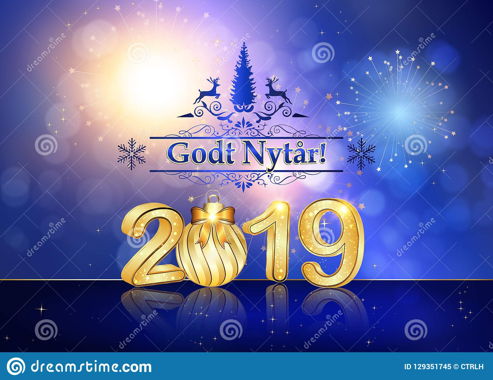 Happy New Year 2019 Greeting Card With Text In Danish Stock Image