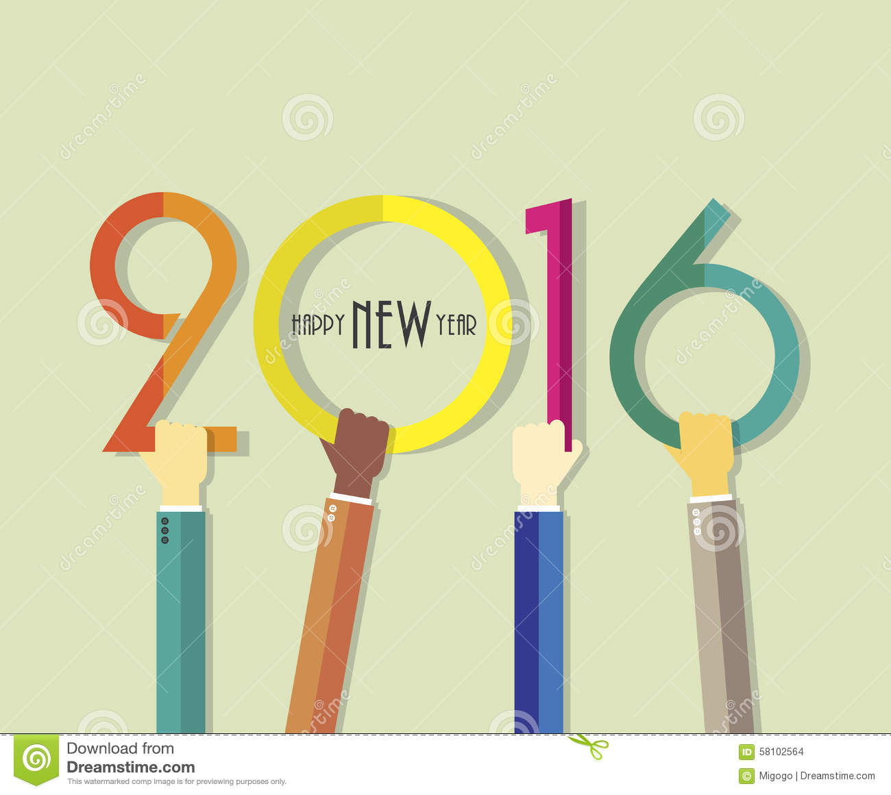 2016 Happy New Year Background With Hands For Greeting Card Stock ...