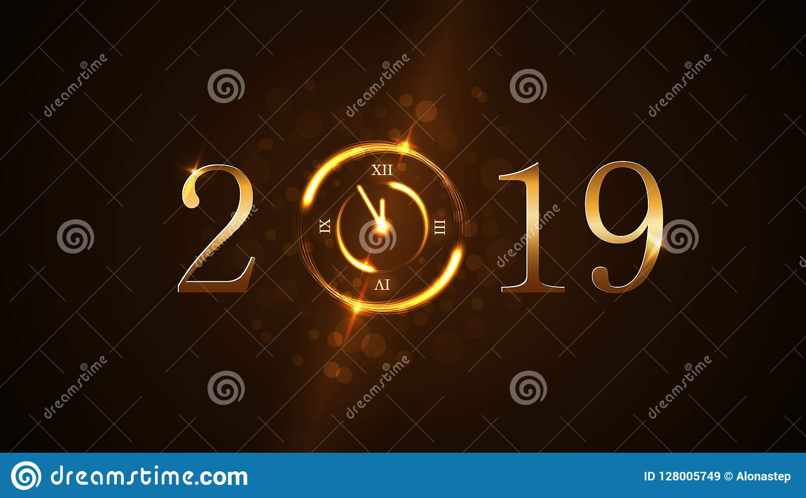 happy new year background magic gold clock countdown five minute golden numbers 2019