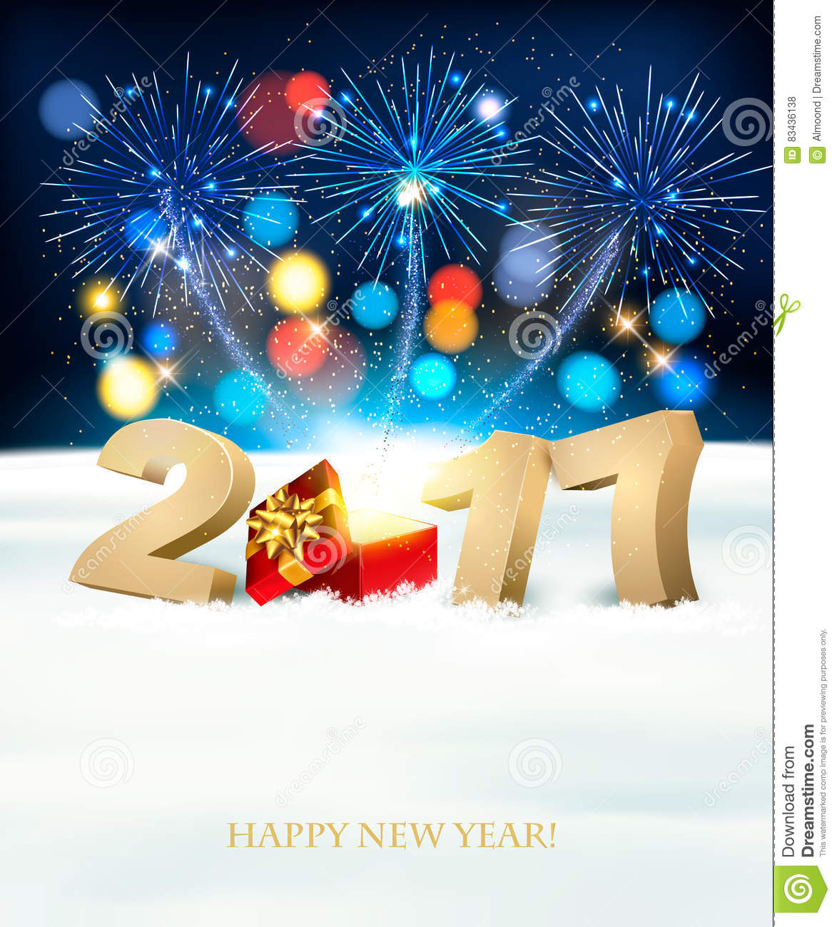 happy new year 2017 background with a magical gift box