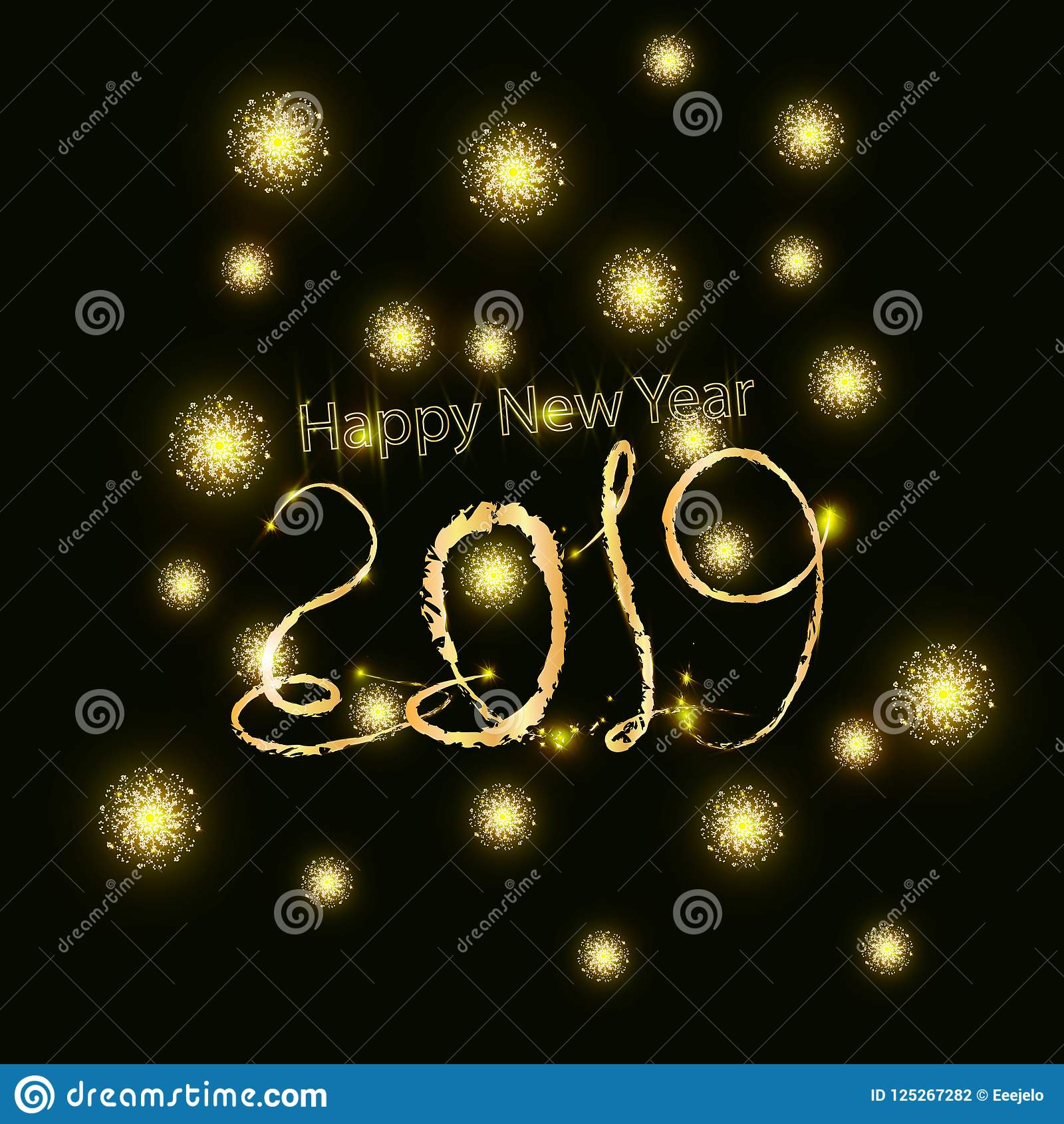 2019 Happy New Year Background With Number And Golden