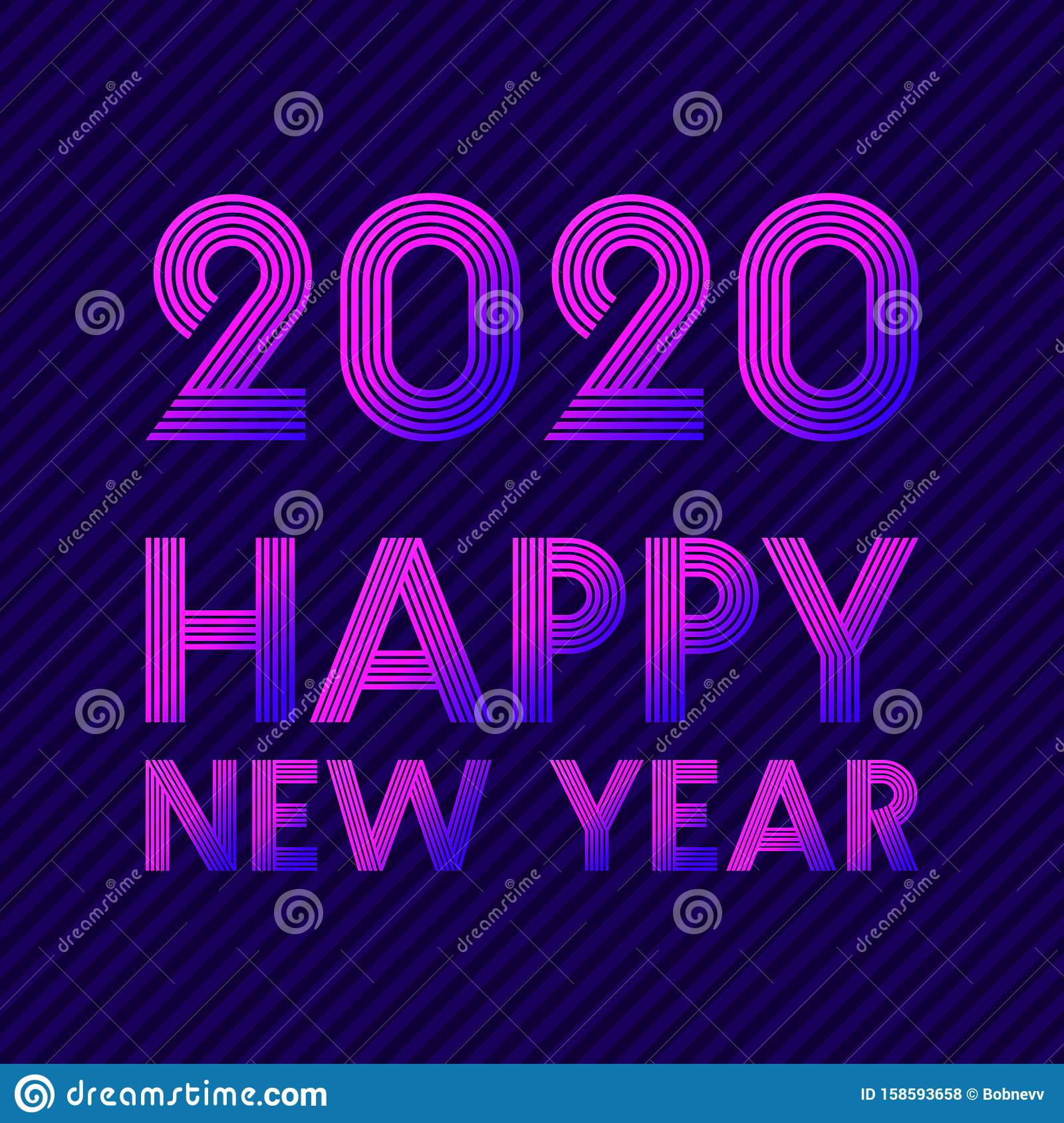 Happy New Year 2020 Background Retro Line Design For Holiday