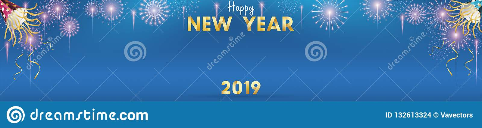 2019 happy new year background for seasonal flyers and greetings