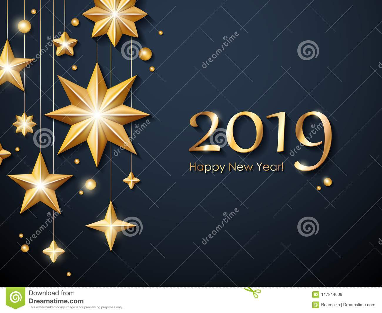 2019 Happy New Year Background. Seasonal Greeting Card ...
