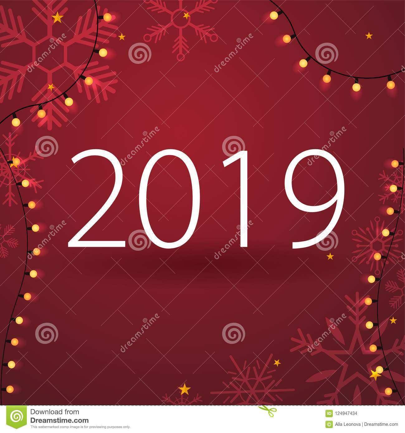 2019 Happy New Year Background With Snowflakes For Your Seasonal