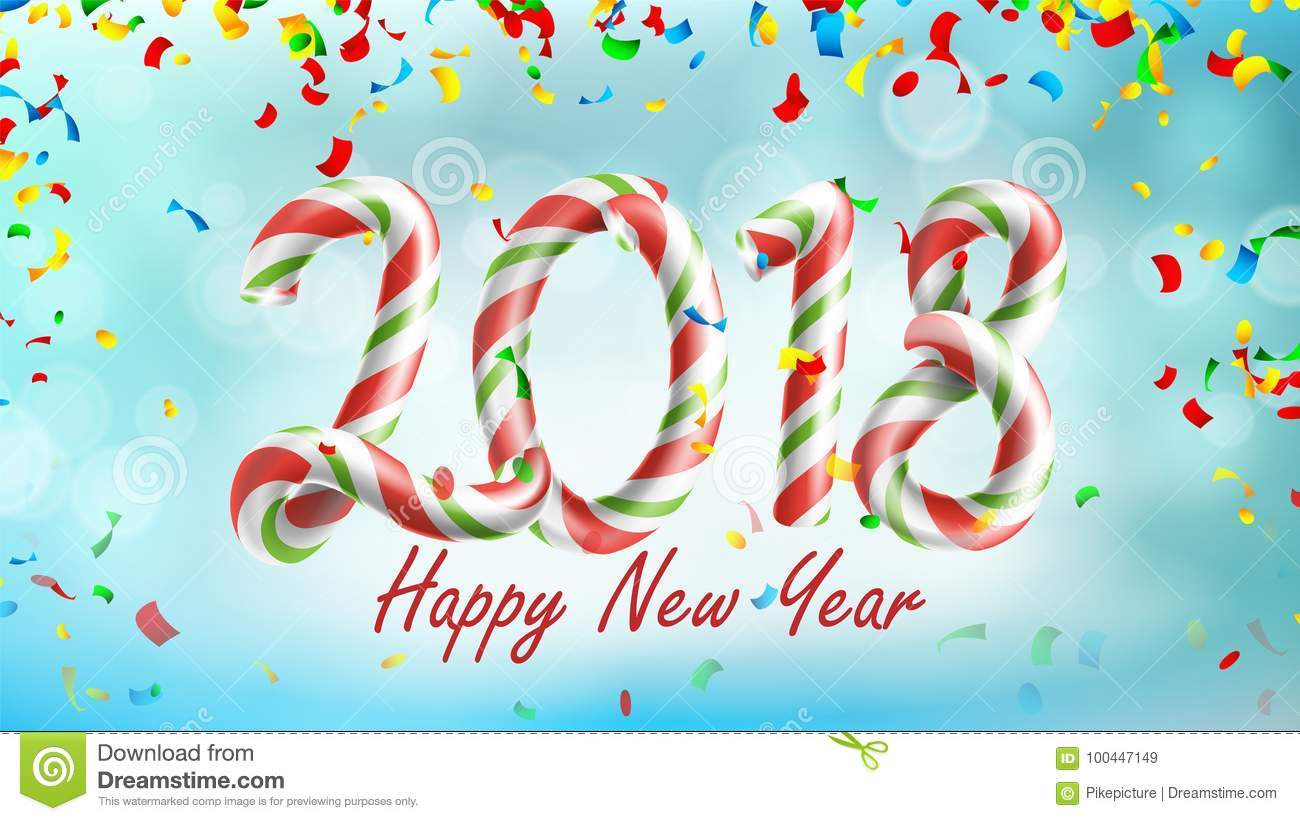 Happy New Year 2018 Background Vector Poster Or Greeting Card