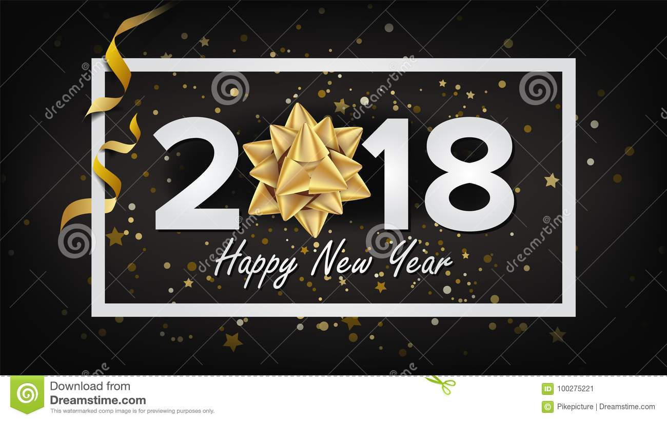 happy new year background 2018 vector realistic bow christmas greeting card modern new