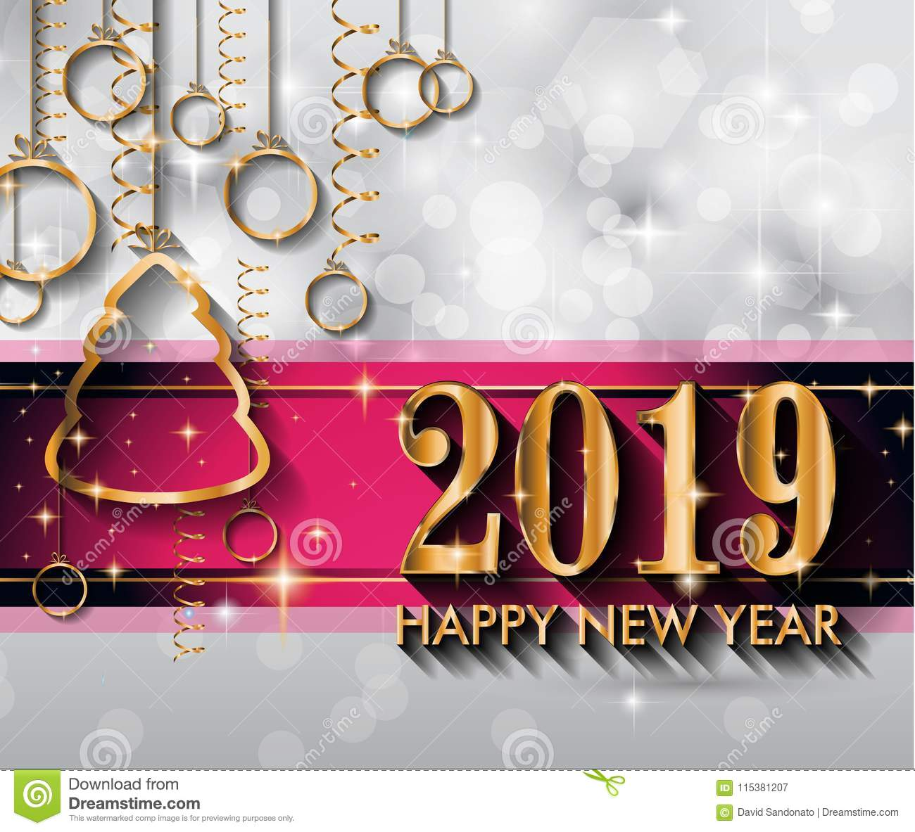 2019 happy new year background for your seasonal flyers and gree