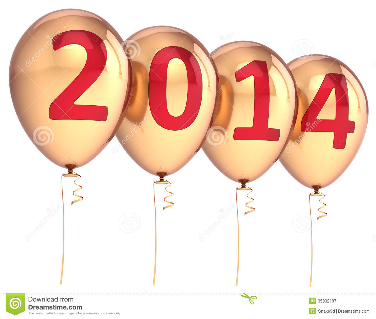 Happy New Year 2014 Balloons Party Decoration Gold Stock ...
