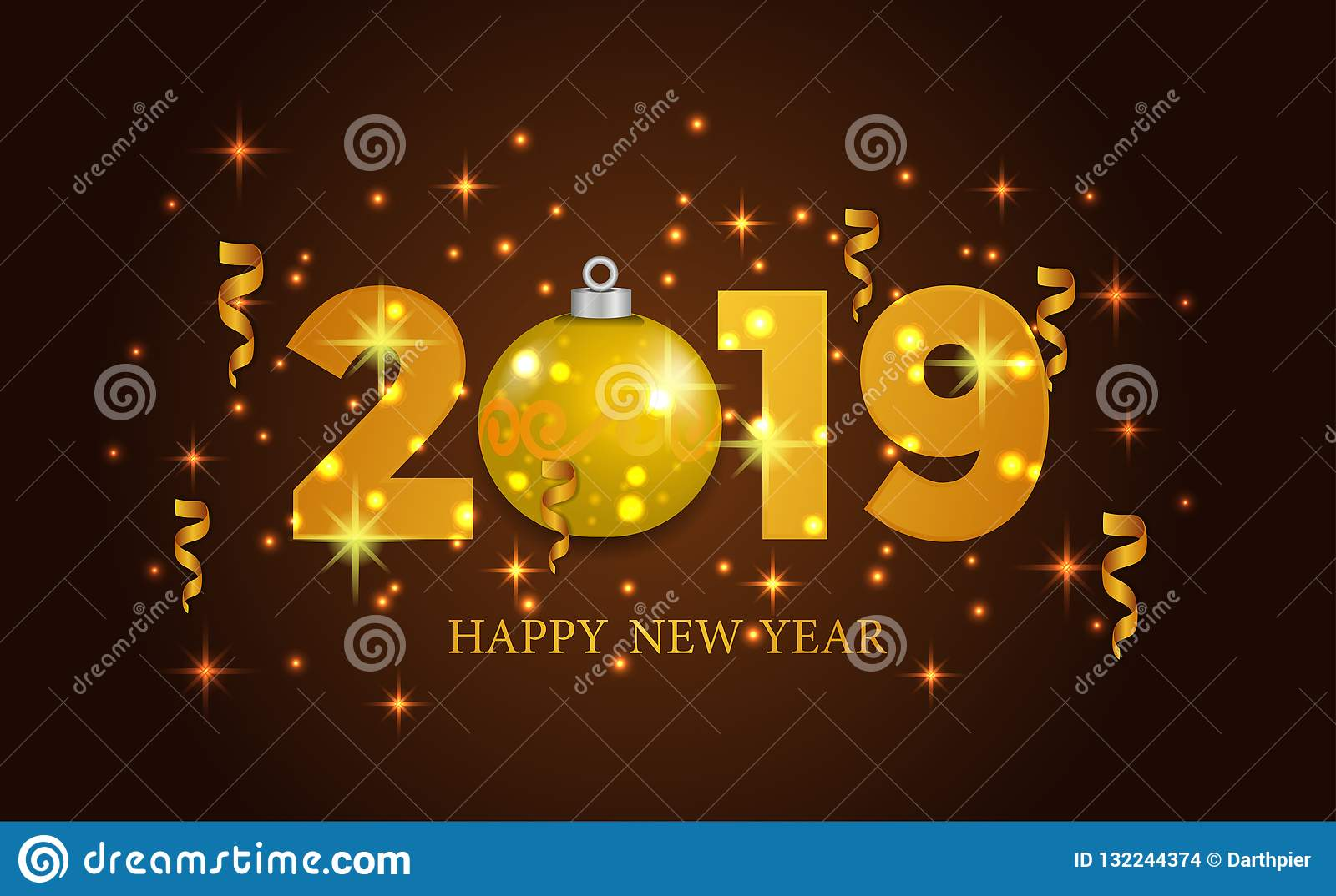 Happy New Year Banner Background Template With 3d Gold Number And