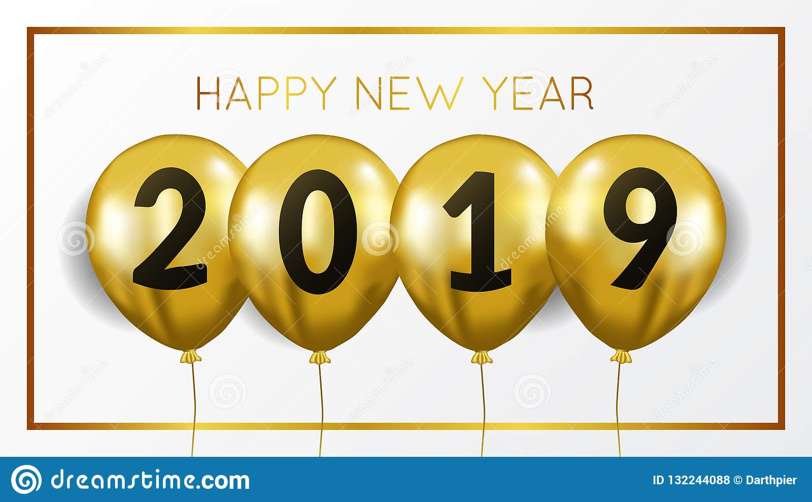Happy new year banner background template with gold balloon flying helium. vector illustration