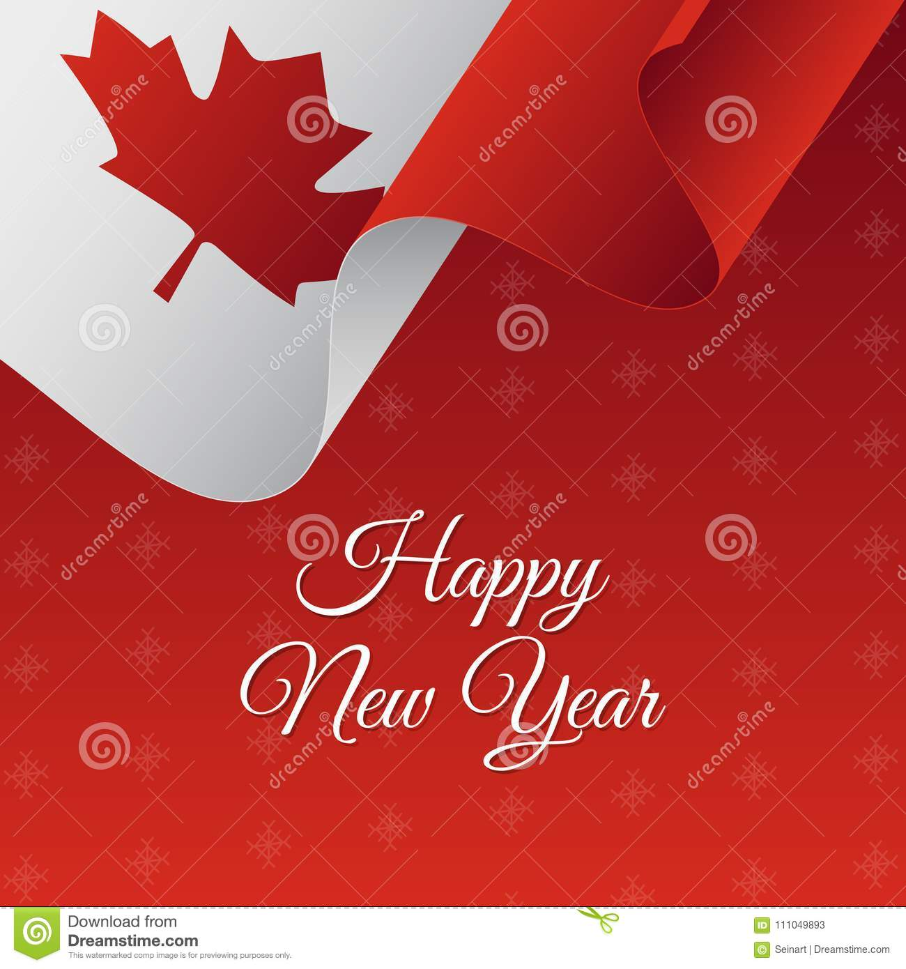 happy new year banner canada waving flag snowflakes background vector illustration