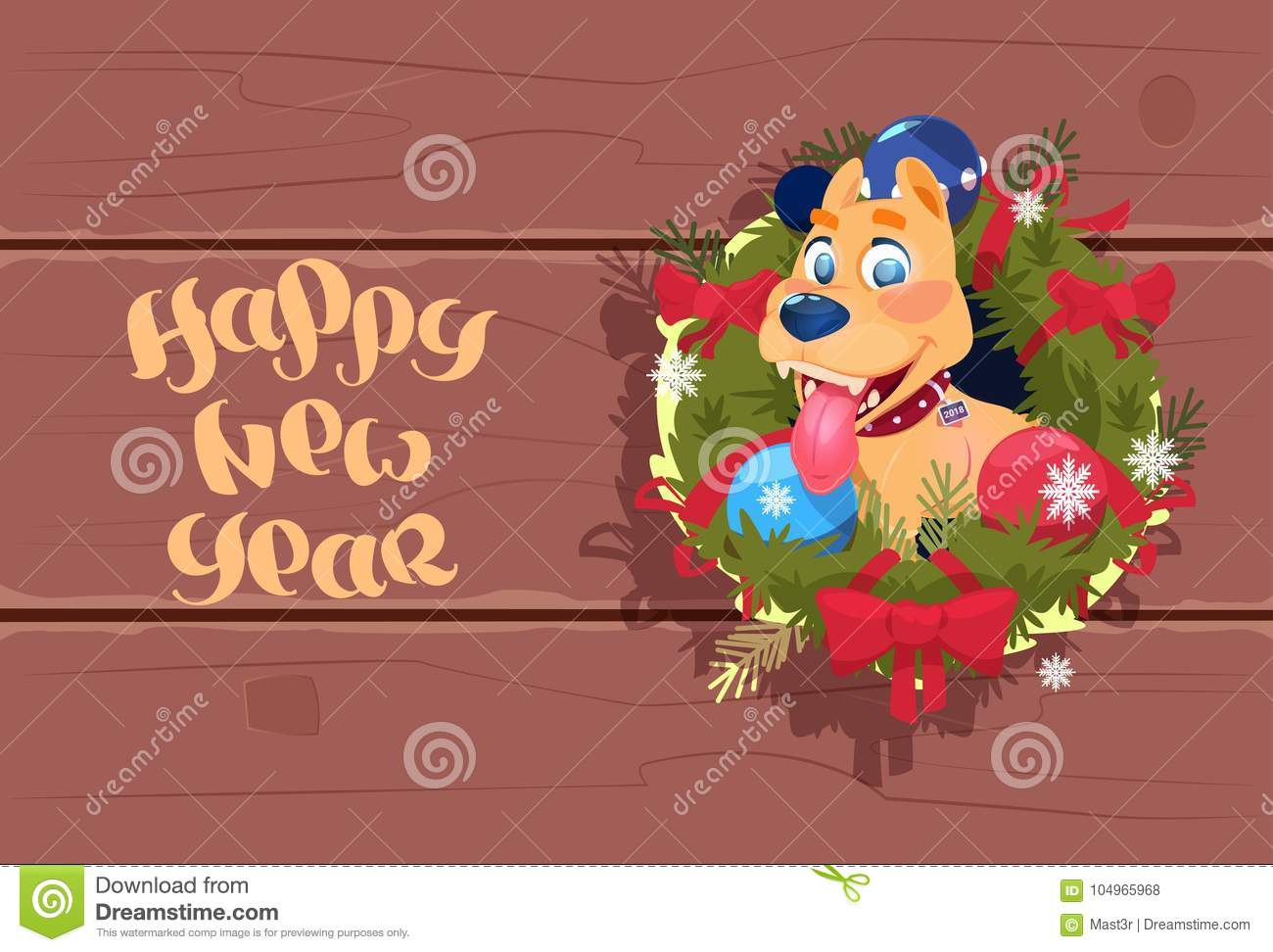 happy new year 2018 banner cute dog in garland on wooden textured background