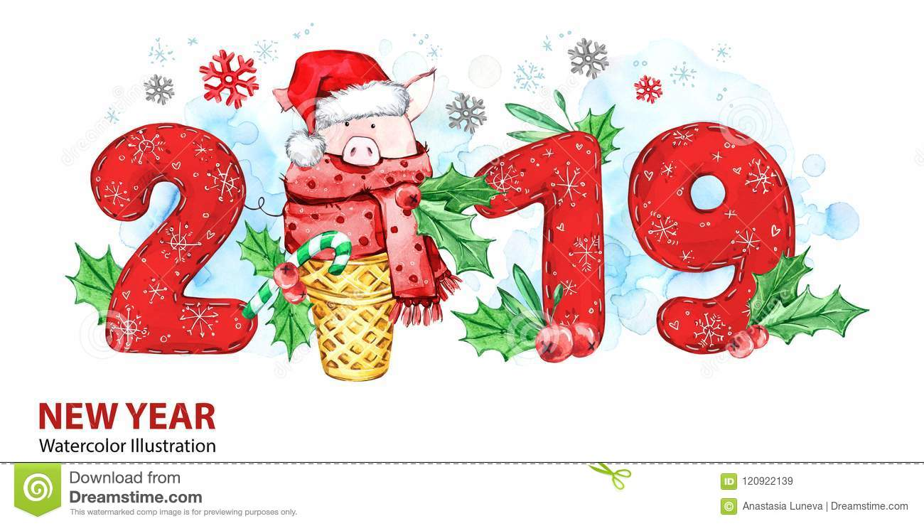 2019 happy new year banner cute pig with santa hat in waffle cone and numbers