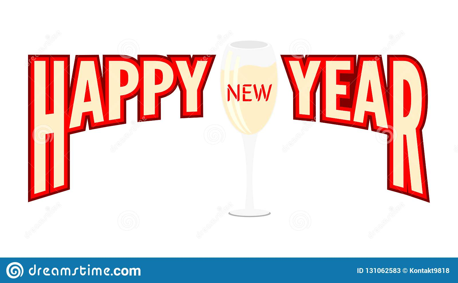 happy new year banner with glass of champagne