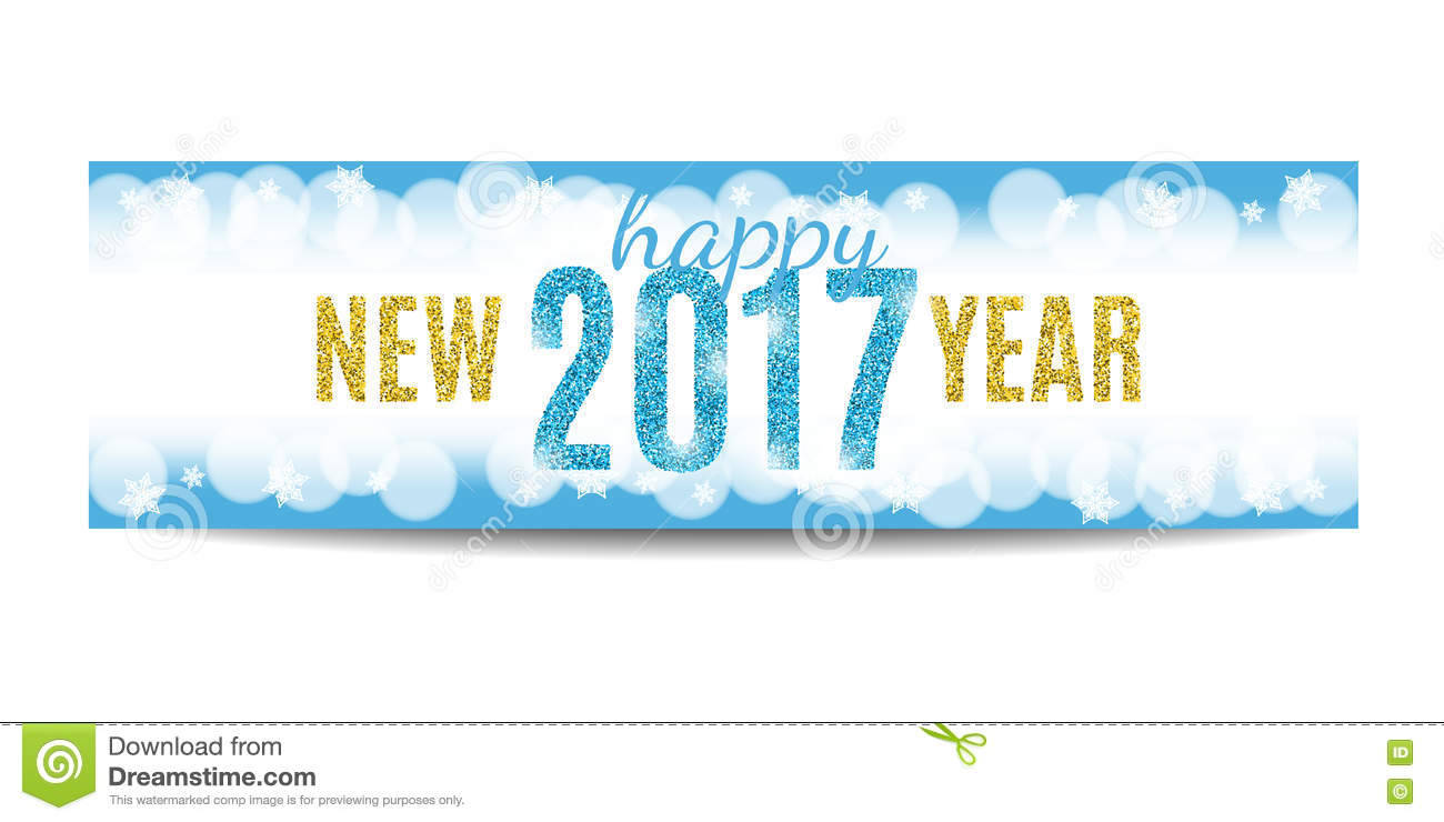 Happy New Year 2017 Banner Golden Text And Snowflakes Stock Vector