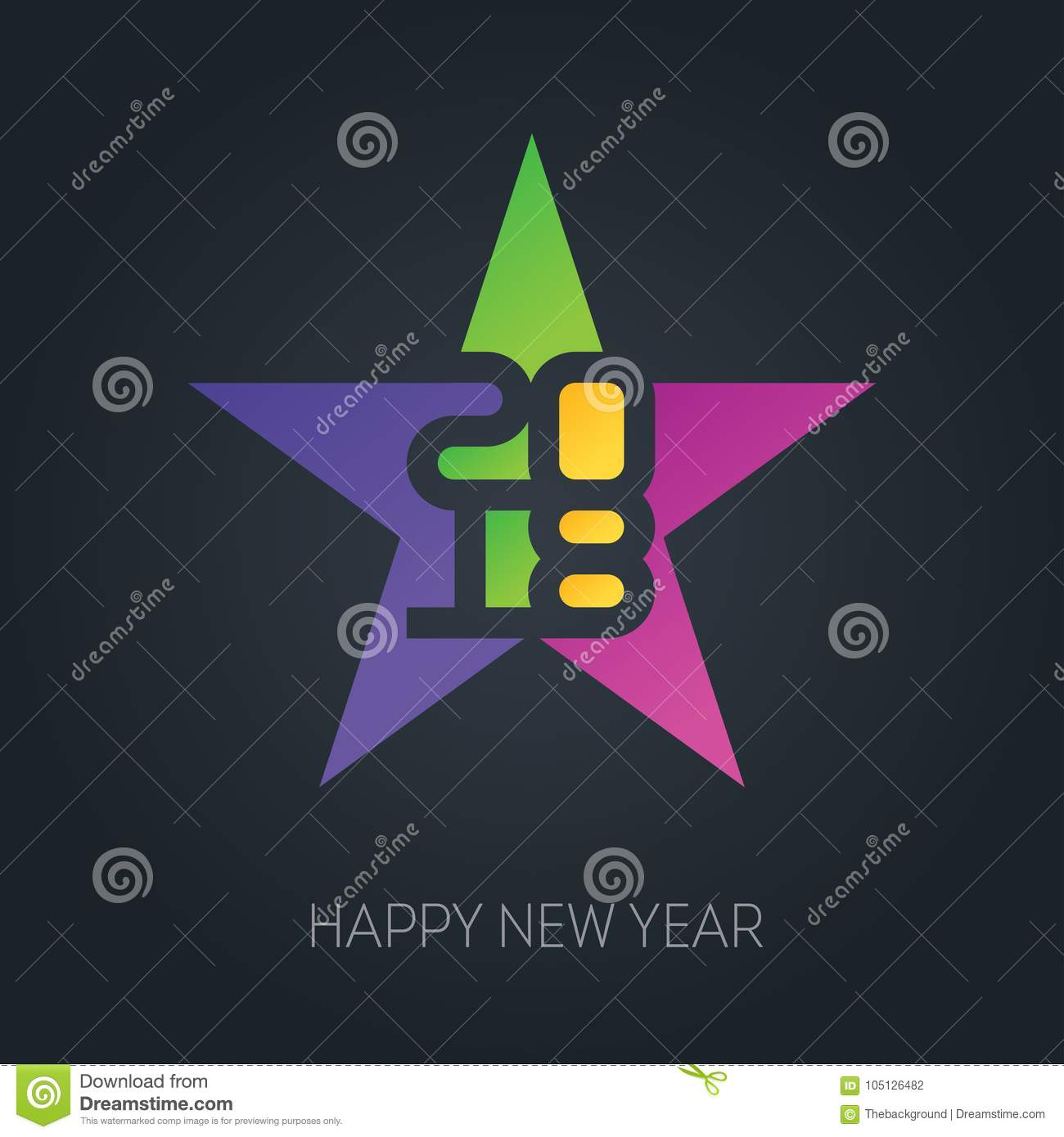 happy new year banner with 2018 numbers on colorful star vector
