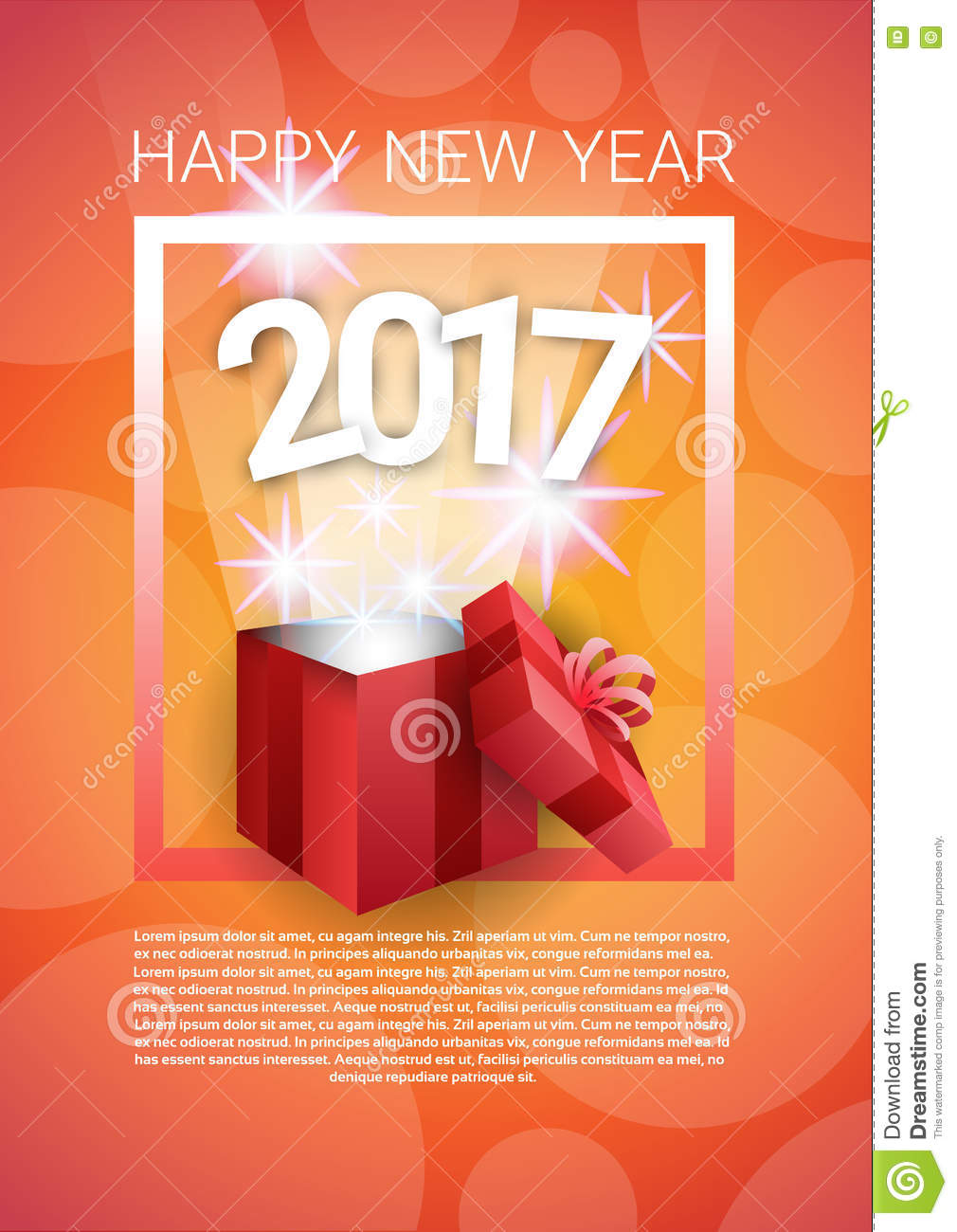 happy new year banner present box merry christmas greeting card with copy space