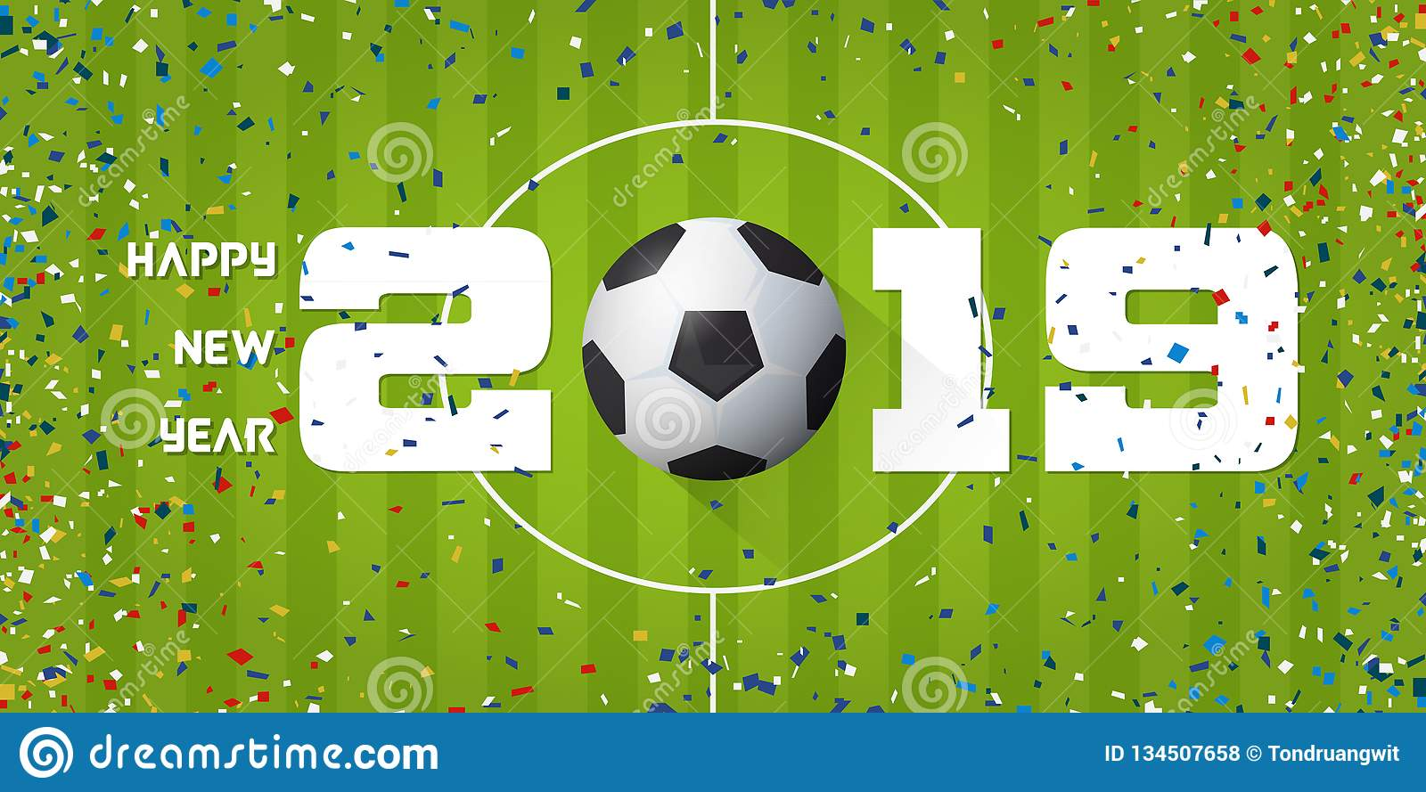 Happy New Year 2019 Banner With Soccer Ball And Paper Confetti On